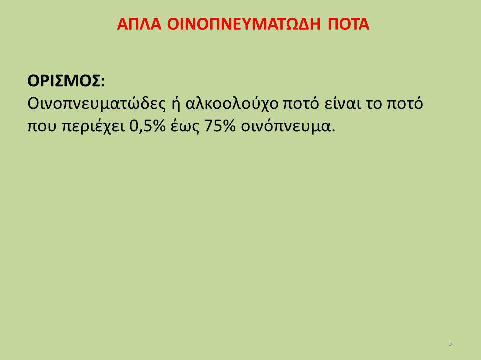 3 ΑΠΛΑ ΟΙΝΟΠΝΕΥΜΑΤΩΔΗ ΠΟΤΑ ΟΡΙΣΜΟΣ: Οινοπνευματώδες ή αλκοολούχο ποτό είναι το ποτό που περιέχει 0,5% έως 75% οινόπνευμα.