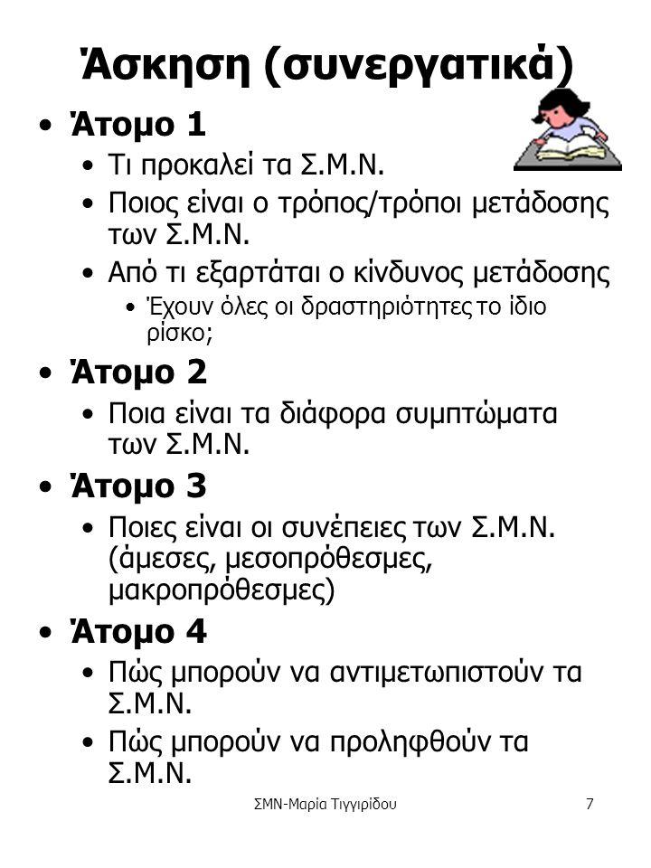ΣΜΝ-Μαρία Τιγγιρίδου6 Άσκηση Ομάδα 1 Τι προκαλεί τα Σ.Μ.Ν.