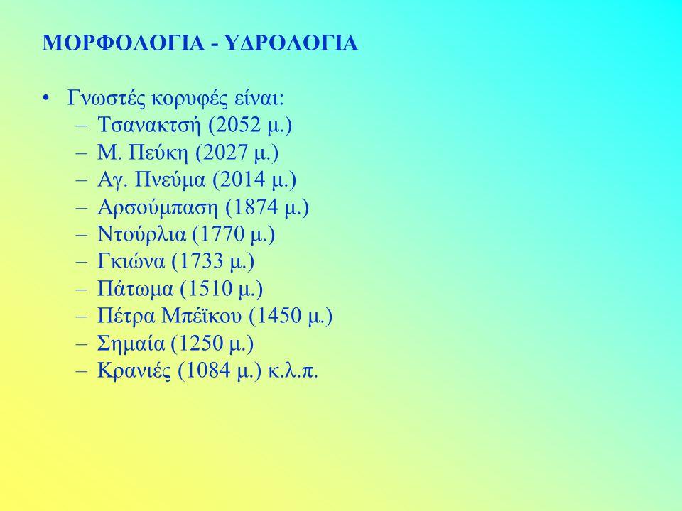 ΜΟΡΦΟΛΟΓΙΑ - ΥΔΡΟΛΟΓΙΑ Γνωστές κορυφές είναι: –Τσανακτσή (2052 μ.) –Μ. Πεύκη (2027 μ.) –Αγ. Πνεύμα (2014 μ.) –Αρσούμπαση (1874 μ.) –Ντούρλια (1770 μ.)