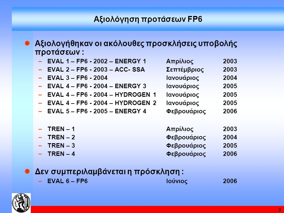 3 Αξιολόγηση προτάσεων FP6 Αξιολογήθηκαν οι ακόλουθες προσκλήσεις υποβολής προτάσεων : –EVAL 1 – FP6 - 2002 – ENERGY 1 Απρίλιος 2003 –EVAL 2 – FP6 - 2003 – ACC- SSA Σεπτέμβριος 2003 –EVAL 3 – FP6 - 2004 Ιανουάριος 2004 –EVAL 4 – FP6 - 2004 – ENERGY 3 Ιανουάριος 2005 –EVAL 4 – FP6 - 2004 – HYDROGEN 1 Ιανουάριος 2005 –EVAL 4 – FP6 - 2004 – HYDROGEN 2 Ιανουάριος 2005 –EVAL 5 – FP6 - 2005 – ENERGY 4 Φεβρουάριος 2006 –ΤREN – 1 Απρίλιος 2003 –ΤREN – 2 Φεβρουάριος 2004 –ΤREN – 3 Φεβρουάριος 2005 –ΤREN – 4 Φεβρουάριος 2006 Δεν συμπεριλαμβάνεται η πρόσκληση : –EVAL 6 – FP6 Ιούνιος 2006
