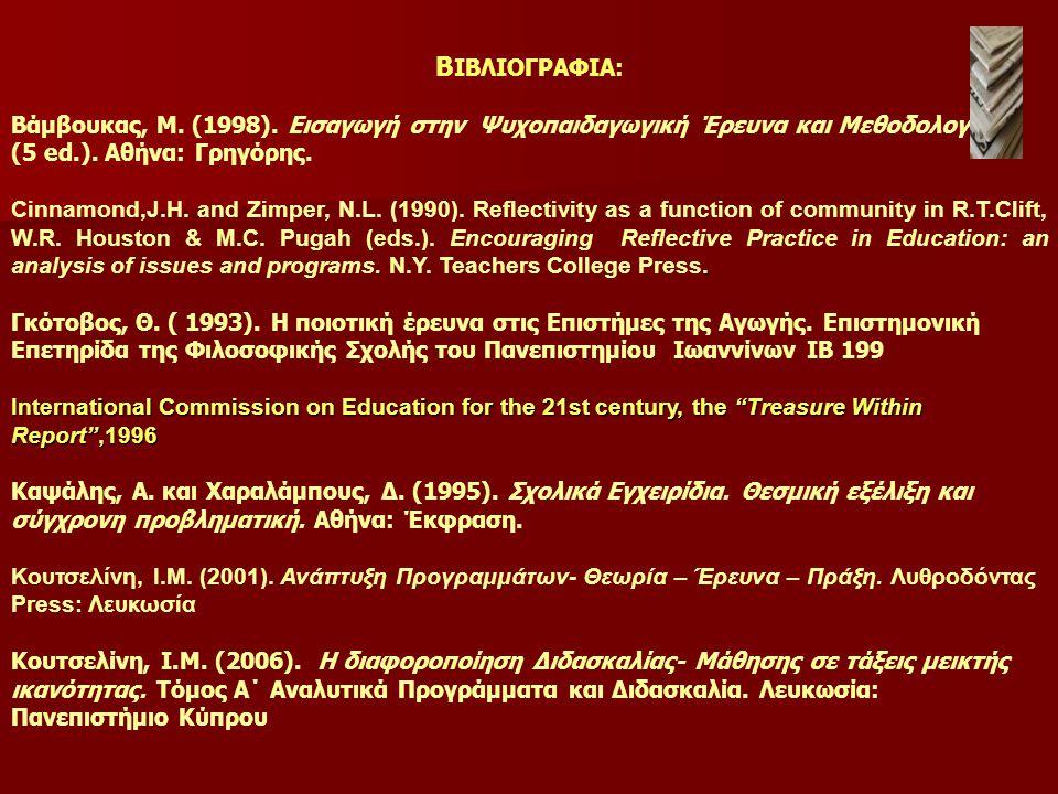 Β ΙΒΛΙΟΓΡΑΦΙΑ: Βάμβουκας, Μ.(1998). Εισαγωγή στην Ψυχοπαιδαγωγική Έρευνα και Μεθοδολογία (5 ed.).