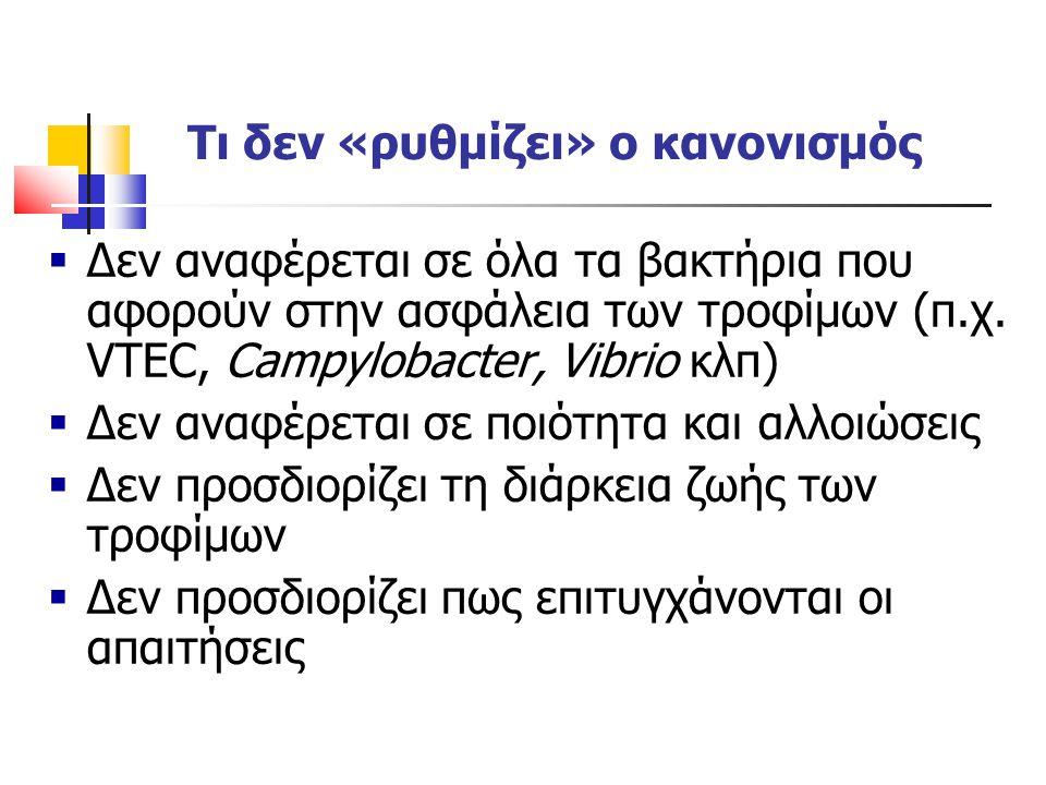 Τι δεν «ρυθμίζει» ο κανονισμός  Δεν αναφέρεται σε όλα τα βακτήρια που αφορούν στην ασφάλεια των τροφίμων (π.χ. VTEC, Campylobacter, Vibrio κλπ)  Δεν