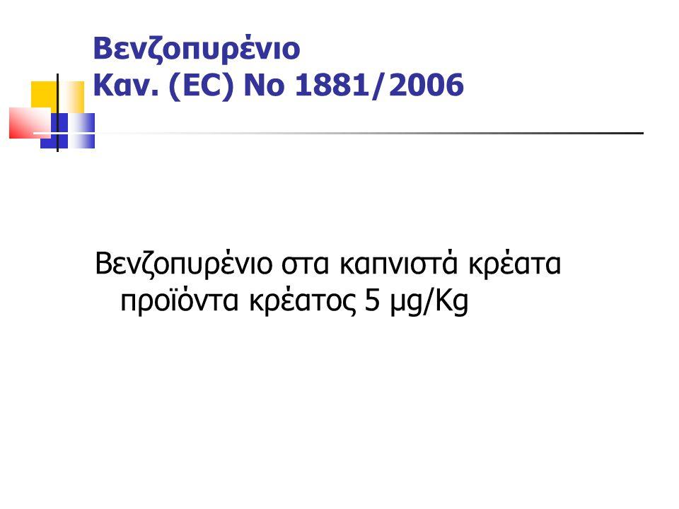 Βενζοπυρένιο στα καπνιστά κρέατα προϊόντα κρέατος 5 μg/Kg Βενζοπυρένιο Καν. (EC) Νο 1881/2006