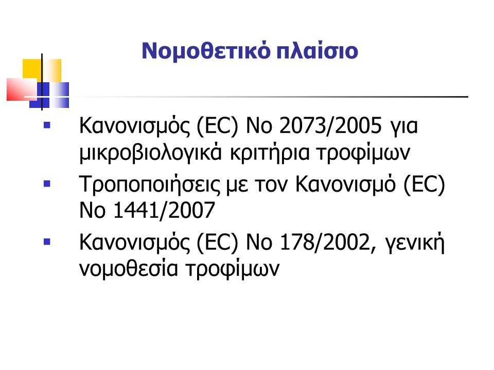 Νομοθετικό πλαίσιο  Κανονισμός (EC) No 2073/2005 για μικροβιολογικά κριτήρια τροφίμων  Τροποποιήσεις με τον Κανονισμό (ΕC) Νο 1441/2007  Κανονισμός