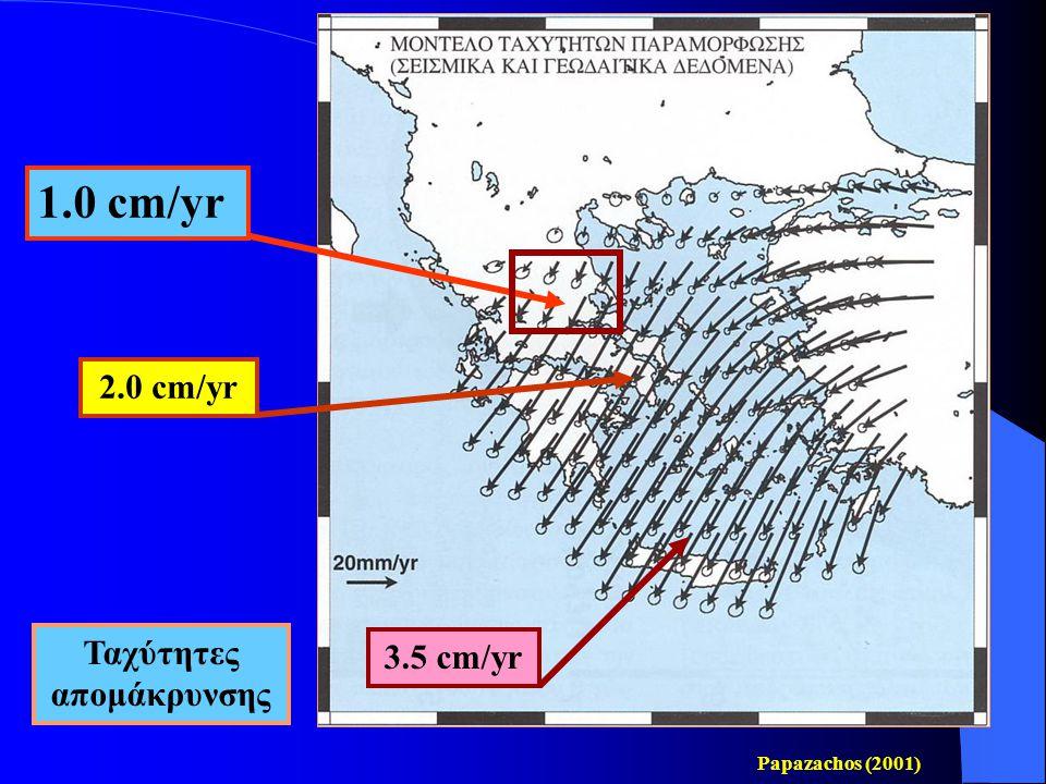 Οι εφελκυστικές τάσεις (διπλά βέλη) που επεκτείνουν το φλοιό της Θεσσαλίας κατά τη διεύθυνση βορρά-νότου.