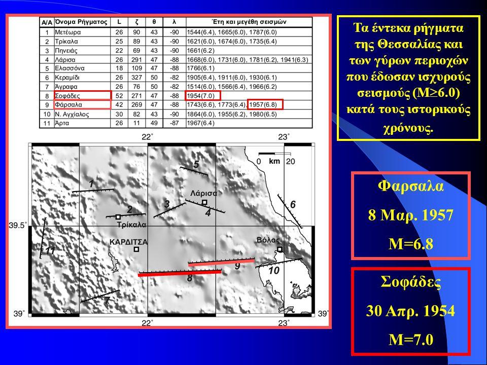 Τα έντεκα ρήγματα της Θεσσαλίας και των γύρων περιοχών που έδωσαν ισχυρούς σεισμούς (Μ  6.0) κατά τους ιστορικούς χρόνους. Σοφάδες 30 Απρ. 1954 Μ=7.0