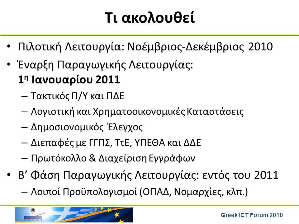 Greek ICT Forum 2010 Τι ακολουθεί Πιλοτική Λειτουργία: Νοέμβριος-Δεκέμβριος 2010 Έναρξη Παραγωγικής Λειτουργίας: 1 η Ιανουαρίου 2011 – Τακτικός Π/Υ κα