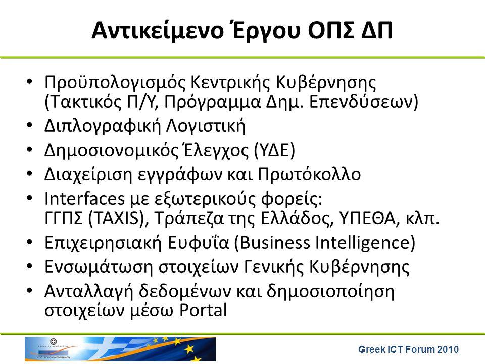 Greek ICT Forum 2010 Αντικείμενο Έργου ΟΠΣ ΔΠ Προϋπολογισμός Κεντρικής Κυβέρνησης (Τακτικός Π/Υ, Πρόγραμμα Δημ. Επενδύσεων) Διπλογραφική Λογιστική Δημ