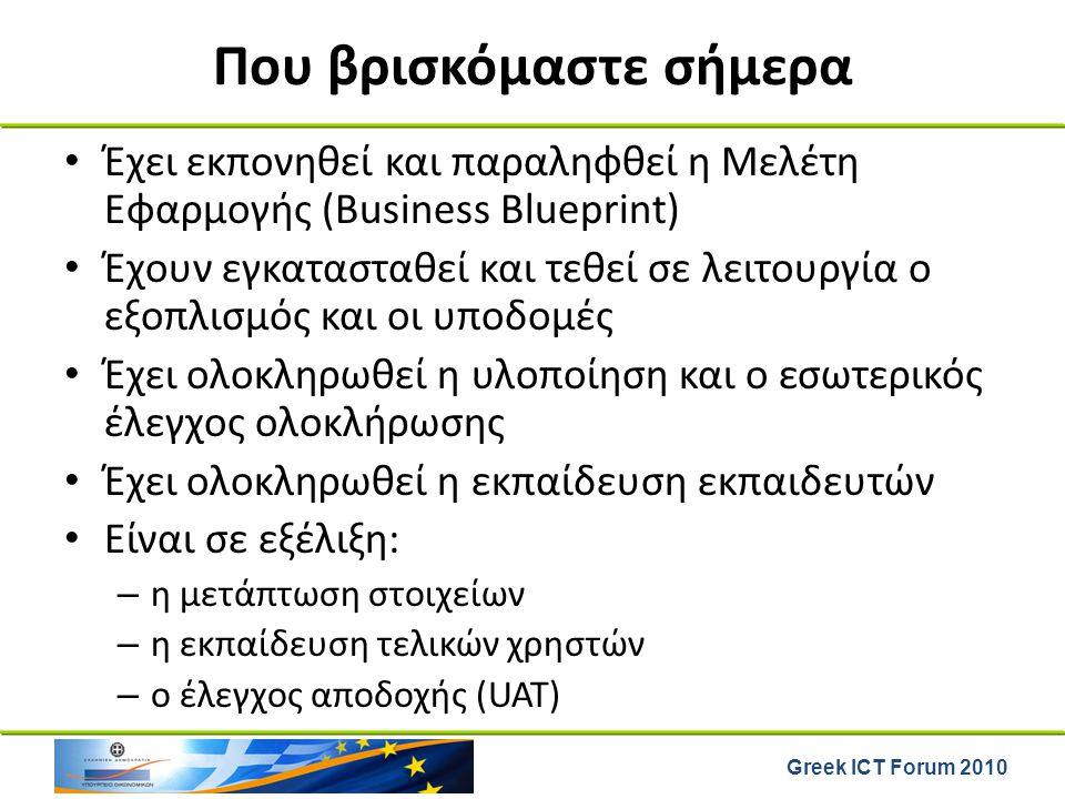 Greek ICT Forum 2010 Που βρισκόμαστε σήμερα Έχει εκπονηθεί και παραληφθεί η Μελέτη Εφαρμογής (Business Blueprint) Έχουν εγκατασταθεί και τεθεί σε λειτ