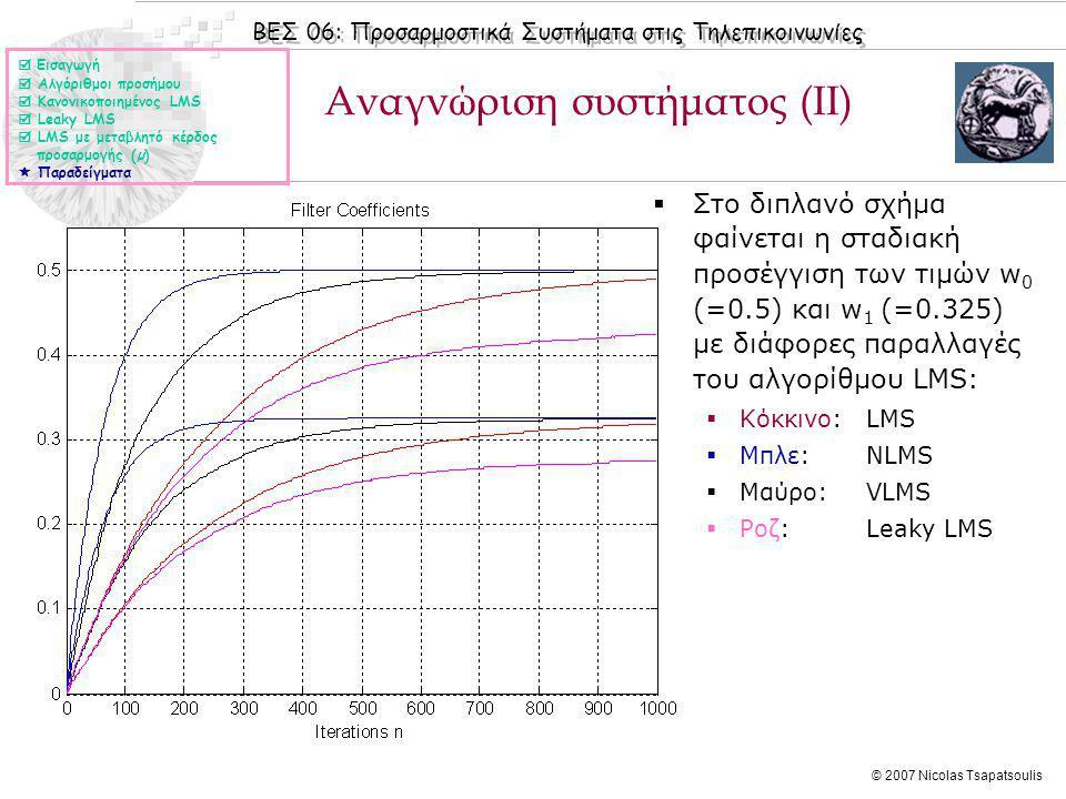 ΒΕΣ 06: Προσαρμοστικά Συστήματα στις Τηλεπικοινωνίες © 2007 Nicolas Tsapatsoulis Αναγνώριση συστήματος (ΙΙ)  Στο διπλανό σχήμα φαίνεται η σταδιακή πρ