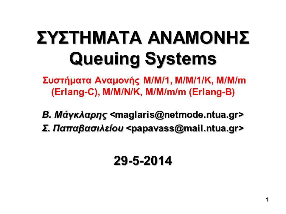 1 ΣΥΣΤΗΜΑΤΑ ΑΝΑΜΟΝΗΣ Queuing Systems ΣΥΣΤΗΜΑΤΑ ΑΝΑΜΟΝΗΣ Queuing Systems Συστήματα Αναμονής Μ/Μ/1, M/M/1/K, M/M/m (Erlang-C), M/M/N/K, M/M/m/m (Erlang-