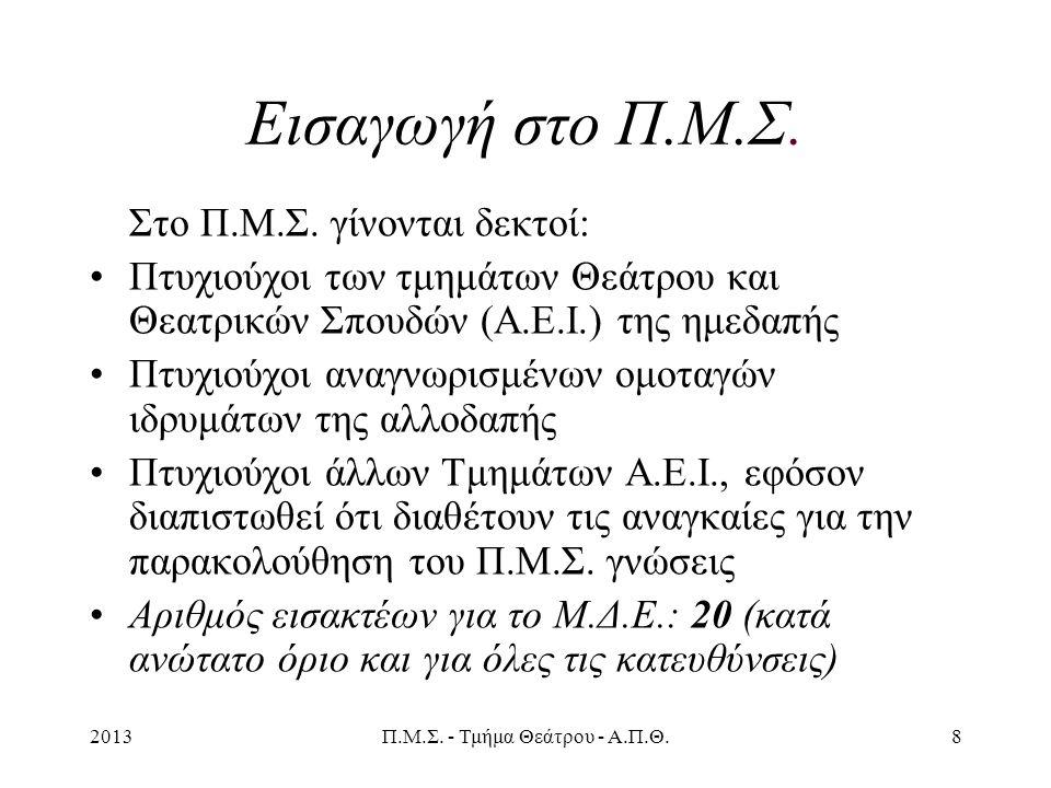 2013Π.Μ.Σ. - Τμήμα Θεάτρου - Α.Π.Θ.8 Εισαγωγή στο Π.Μ.Σ.