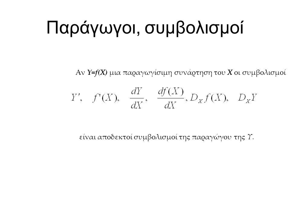 Παράγωγοι, συμβολισμοί Αν Y=f(X) μια παραγωγίσιμη συνάρτηση του Χ οι συμβολισμοί είναι αποδεκτοί συμβολισμοί της παραγώγου της Υ.