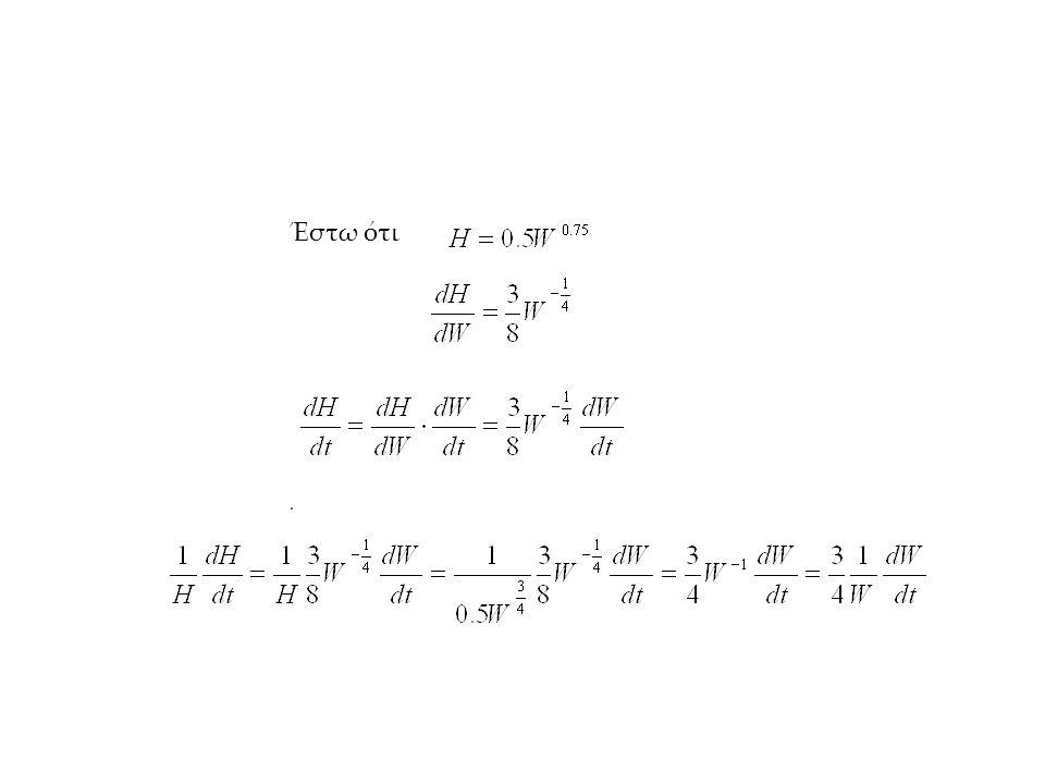 Χρήση παραγώγων στα προβλήματα μεγιστοποίησης- ελαχιστοποίησης Παράδειγμα: Περίφραξη ορθογωνίου τμήματος αγρού στο σύνορο ποταμού με περιορισμένου μήκους συρματόπλεγμα Ζητούμενο : Μέγιστο εμβαδόν Συνάρτηση κριτήριο: Ε=ΧΥ Περιορισμός: L=2X+Y άρα Υ=L-2Χ Ε=Χ(L-2Χ), Για πια τιμή του Χ το Ε μεγιστοποιείται; Ε'=L-4X E'=0 όταν Χ=L/4 (ακρότατο) Ε''=-4 (μέγιστο)