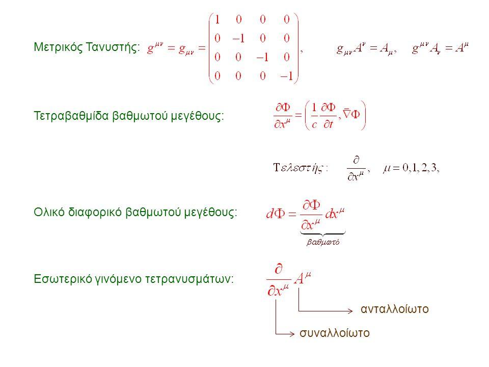 Μετρικός Τανυστής: Τετραβαθμίδα βαθμωτού μεγέθους: Ολικό διαφορικό βαθμωτού μεγέθους: Εσωτερικό γινόμενο τετρανυσμάτων: συναλλοίωτο ανταλλοίωτο