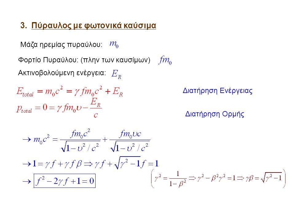 Τετραδιανύσματα Οι χωροχρονικές συνιστώσες ενός γεγονότος μπορούν να θεωρηθούν σαν συνιστώσες ενός διανύσματος θέσης στις 4 διαστάσεις (τετραδιανύσματος):  Μήκος (2) τετραδιανύσματος θέσης Αναλλοίωτο κάτω από μετασχηματισμούς Lorentz « Τέσσερις ποσότητες Α 0, Α 1, Α 2, Α 3 που μετασχηματίζονται όπως οι συνιστώσες του τετραδιανύσματος θέσης κάτω από μετασχηματισμούς του τετραδιάστατου συστήματος συντεταγμένων αποτελούν τετραδιάνυσμα»  Μέτρο (2) τερταδιανύσματος Μετρική Minkowski