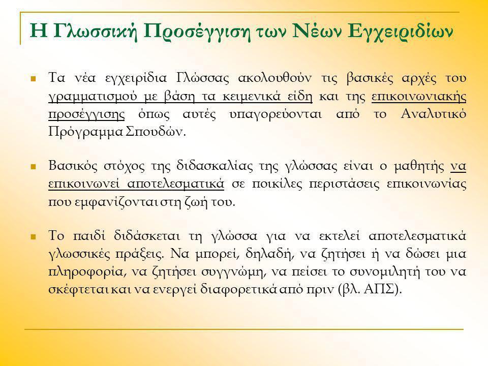 Η Γλωσσική Προσέγγιση των Νέων Εγχειριδίων Τα νέα εγχειρίδια Γλώσσας ακολουθούν τις βασικές αρχές του γραμματισμού με βάση τα κειμενικά είδη και της ε