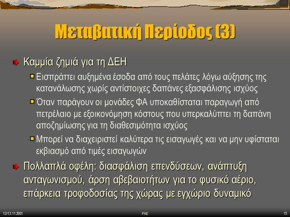 12/13.11.2001 ΡΑΕ16 Χρειάζονται διορθωτικές κινήσεις Είναι λογικό όπως έγινε και σε όλες τις χώρες κατά την πορεία της απελευθέρωσης της αγοράς Δημόσιες διαβουλεύσεις Αρχές Τιμολογιακής Πολιτικής για Ηλεκτρική Ενέργεια Τιμολόγια ΔΕΠΑ για Υπηρεσίες Μεταφοράς Φ.Α.