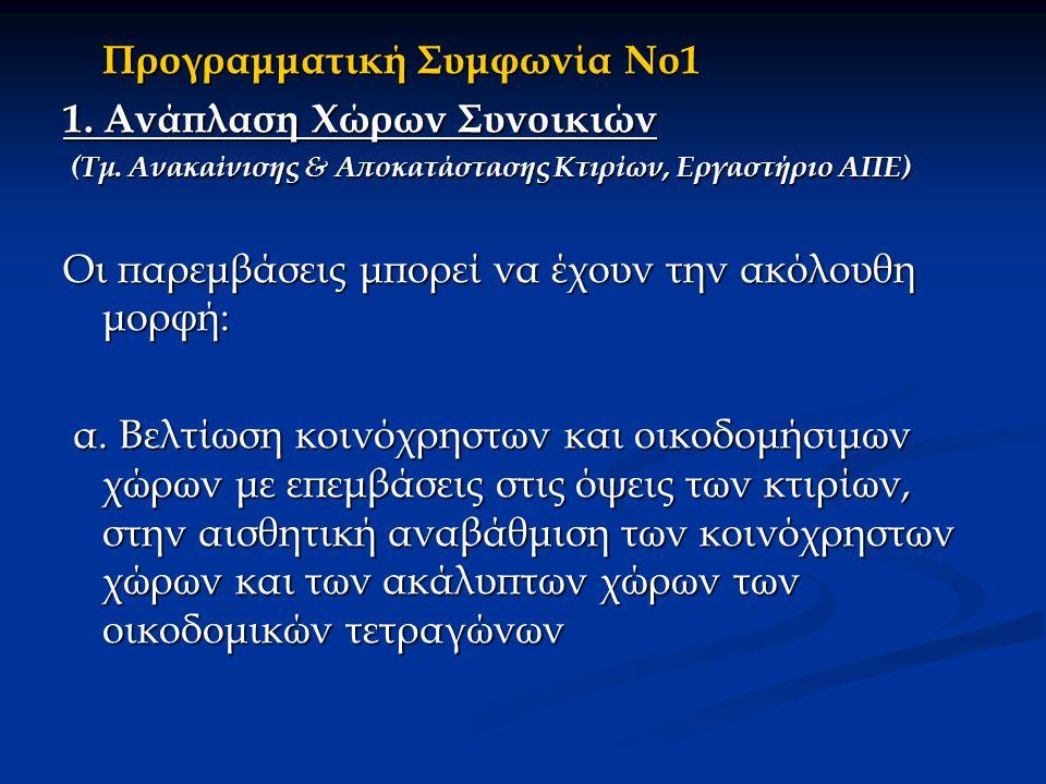 Προγραμματική Συμφωνία Νο1 1. Ανάπλαση Χώρων Συνοικιών (Τμ.