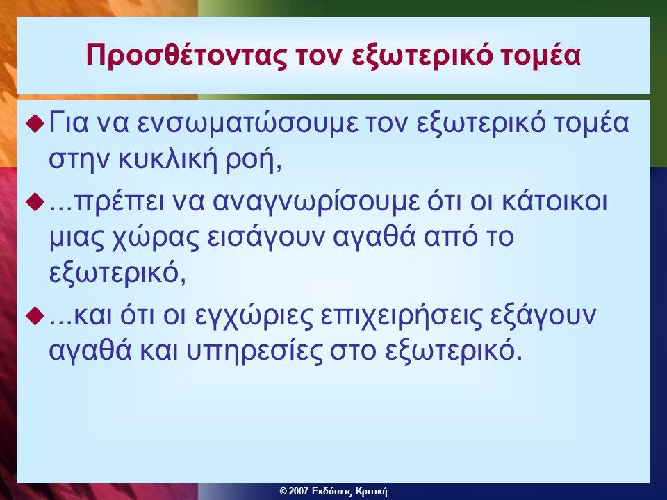 © 2007 Εκδόσεις Κριτική Προσθέτοντας τον εξωτερικό τομέα  Για να ενσωματώσουμε τον εξωτερικό τομέα στην κυκλική ροή, ...πρέπει να αναγνωρίσουμε ότι