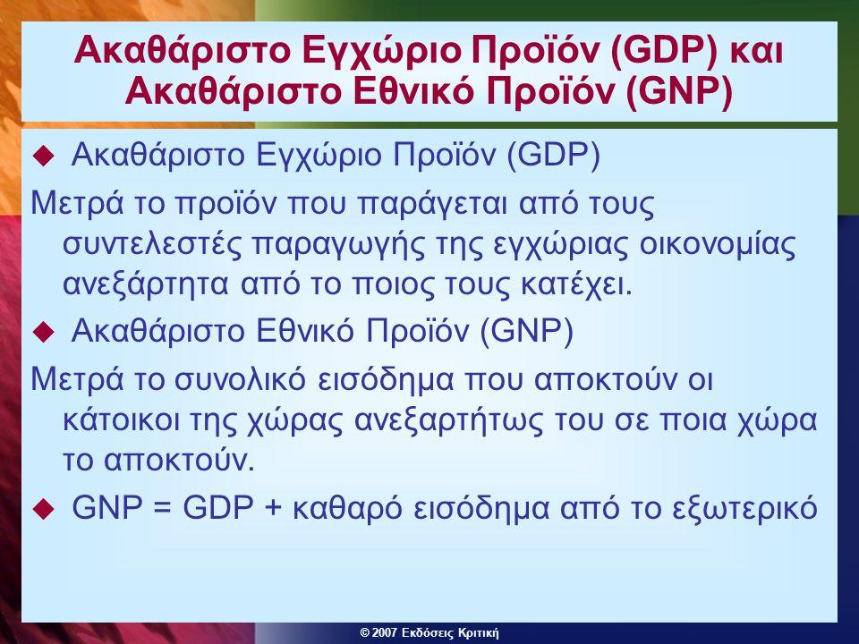 © 2007 Εκδόσεις Κριτική Τρείς τρόποι μέτρησης του εθνικού προϊόντος  Δαπάνη - το σύνολο των δαπανών στην οικονομία - Υ=C+I+G+X-M  Εισόδημα - το σύνολο των εισοδημάτων που αποκομίζουν οι συντελεστές παραγωγής - μισθοί, κέρδη κλπ.
