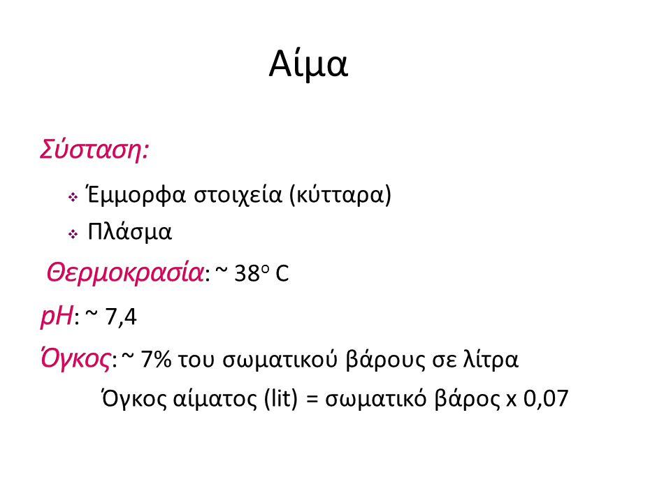 Αιματοκρίτης 5,5 Σε ένα ενήλικα φυσιολογικού βάρους (70kg), ο όγκος του αίματος είναι 5,5 lit.