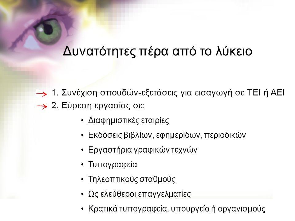 1. Συνέχιση σπουδών-εξετάσεις για εισαγωγή σε ΤΕΙ ή ΑΕΙ 2. Εύρεση εργασίας σε: Διαφημιστικές εταιρίες Εκδόσεις βιβλίων, εφημερίδων, περιοδικών Εργαστή