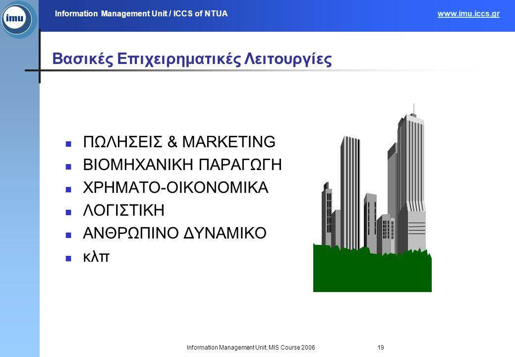 Information Management Unit / ICCS of NTUAwww.imu.iccs.gr Information Management Unit, MIS Course 200619 ΠΩΛΗΣΕΙΣ & MARKETING ΒΙΟΜΗΧΑΝΙΚΗ ΠΑΡΑΓΩΓΗ ΧΡΗΜΑΤΟ-ΟΙΚΟΝΟΜΙΚΑ ΛΟΓΙΣΤΙΚΗ ΑΝΘΡΩΠΙΝΟ ΔΥΝΑΜΙΚΟ κλπ Βασικές Επιχειρηματικές Λειτουργίες