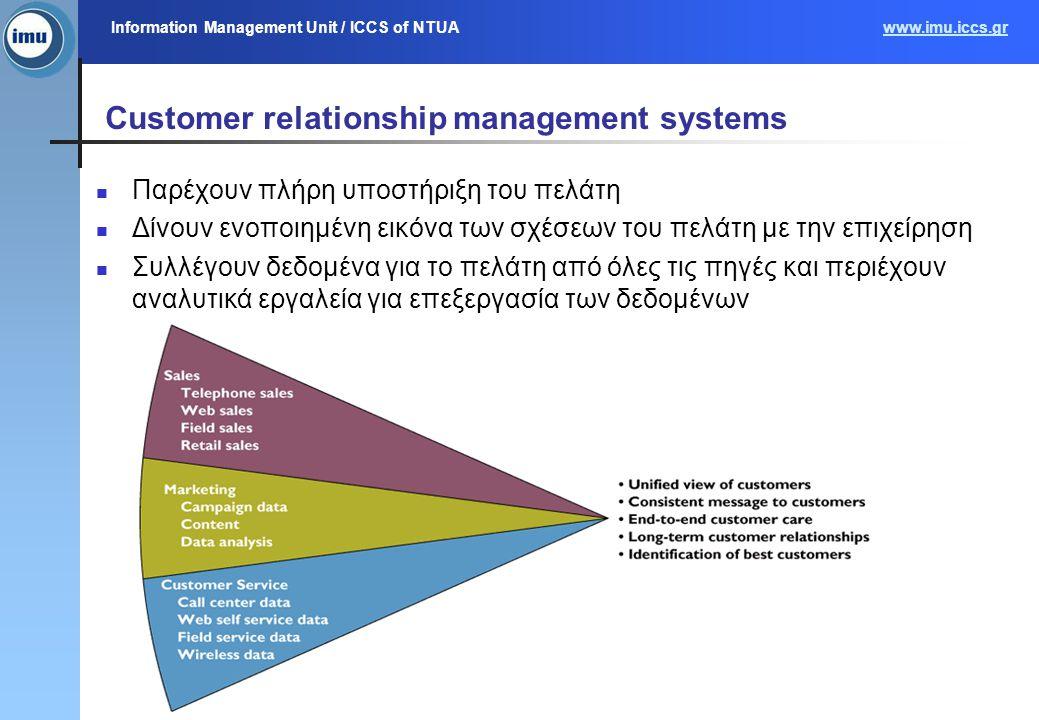 Information Management Unit / ICCS of NTUAwww.imu.iccs.gr Information Management Unit, MIS Course 200637 Customer relationship management systems Παρέ