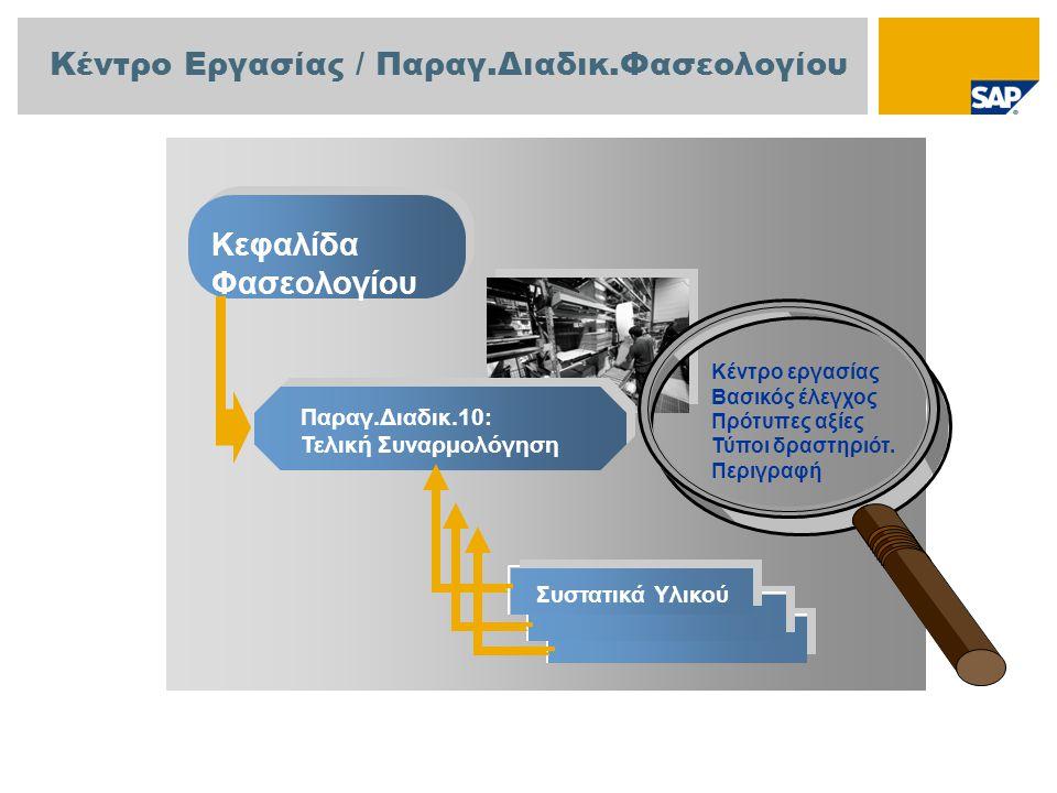 Κέντρο Εργασίας / Παραγ.Διαδικ.Φασεολογίου Κεφαλίδα Φασεολογίου Παραγ.Διαδικ.10: Τελική Συναρμολόγηση Συστατικά Υλικού Κέντρο εργασίας Βασικός έλεγχος Πρότυπες αξίες Τύποι δραστηριότ.