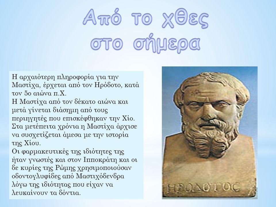 Η αρχαιότερη πληροφορία για την Μαστίχα, έρχεται από τον Ηρόδοτο, κατά τον 5ο αιώνα π.Χ.