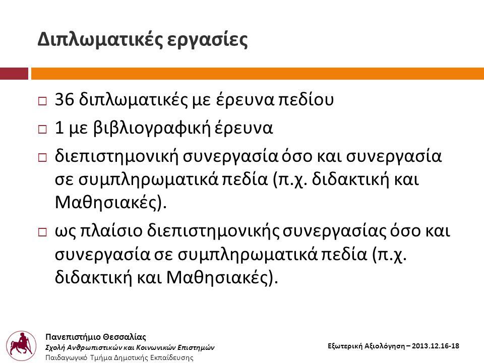 Πανεπιστήμιο Θεσσαλίας Σχολή Ανθρωπιστικών και Κοινωνικών Επιστημών Παιδαγωγικό Τμήμα Δημοτικής Εκπαίδευσης Εξωτερική Αξιολόγηση – 2013.12.16-18 Διπλωματικές εργασίες  36 διπλωματικές με έρευνα πεδίου  1 με βιβλιογραφική έρευνα  διεπιστημονική συνεργασία όσο και συνεργασία σε συμπληρωματικά πεδία ( π.