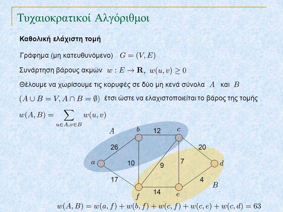 Τυχαιοκρατικοί Αλγόριθμοι Καθολική ελάχιστη τομή Συνάρτηση βάρους ακμών Γράφημα (μη κατευθυνόμενο) 26 17 12 14 7 9 20 4 10 Θέλουμε να χωρίσουμε τις κορυφές σε δύο μη κενά σύνολα και έτσι ώστε να ελαχιστοποιείται το βάρος της τομής