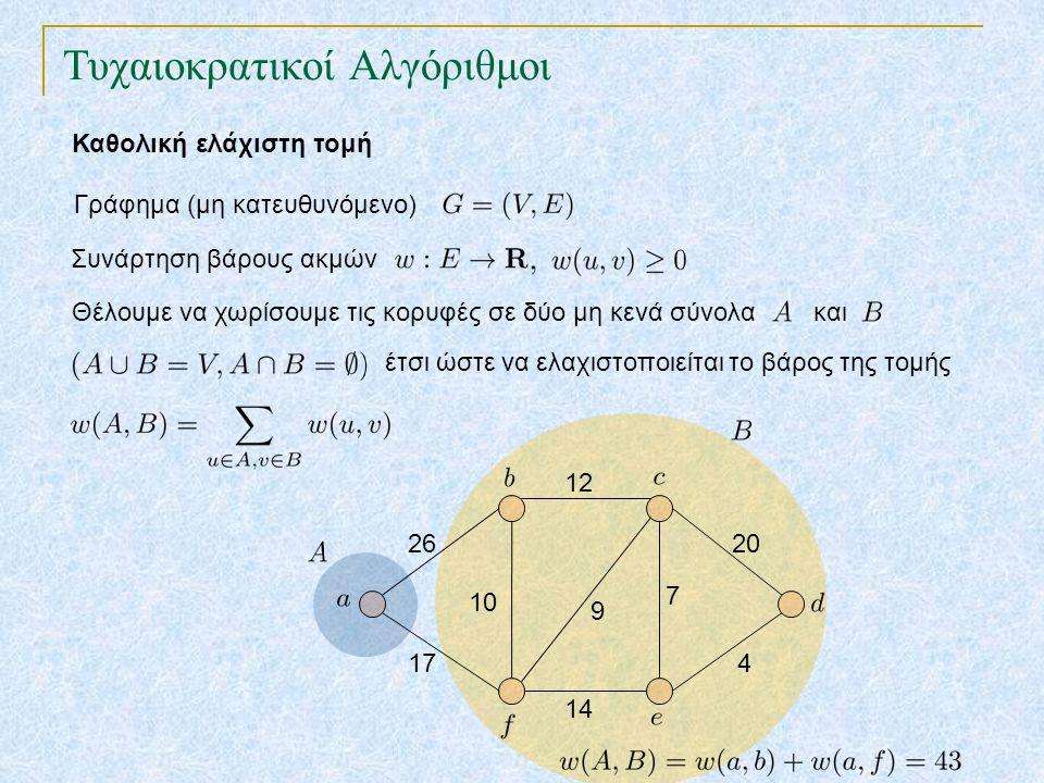 Τυχαιοκρατικοί Αλγόριθμοι Καθολική ελάχιστη τομή Συνάρτηση βάρους ακμών Γράφημα (μη κατευθυνόμενο) 26 17 12 14 7 9 20 4 10 Θέλουμε να χωρίσουμε τις κο