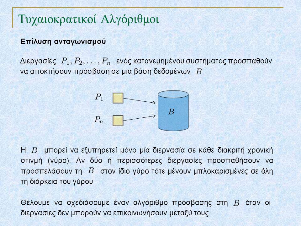 Τυχαιοκρατικοί Αλγόριθμοι Επίλυση ανταγωνισμού Διεργασίες ενός κατανεμημένου συστήματος προσπαθούν να αποκτήσουν πρόσβαση σε μια βάση δεδομένων Η μπορεί να εξυπηρετεί μόνο μία διεργασία σε κάθε διακριτή χρονική στιγμή (γύρο).