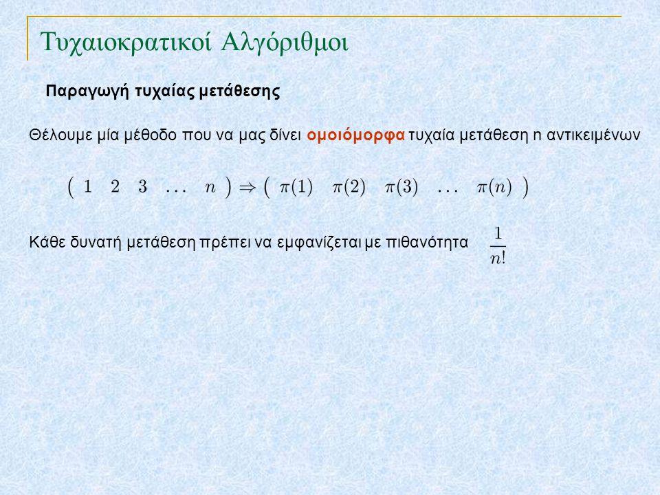Τυχαιοκρατικοί Αλγόριθμοι Παραγωγή τυχαίας μετάθεσης Θέλουμε μία μέθοδο που να μας δίνει ομοιόμορφα τυχαία μετάθεση n αντικειμένων Κάθε δυνατή μετάθεση πρέπει να εμφανίζεται με πιθανότητα Ταξινομική Μετάθεση για i ← 1 έως n p[i] = τυχαία(1,N) ταξινόμησε τα αντικείμενα με κλειδιά τα p[i]