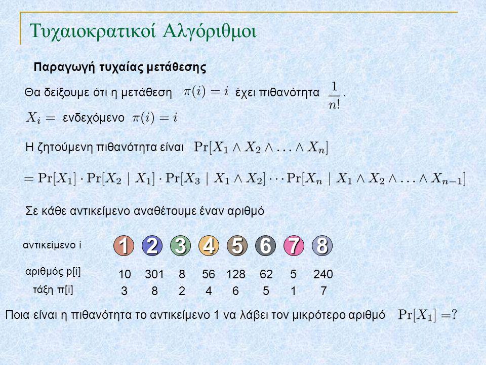 Τυχαιοκρατικοί Αλγόριθμοι Παραγωγή τυχαίας μετάθεσης Θα δείξουμε ότι η μετάθεση έχει πιθανότητα.