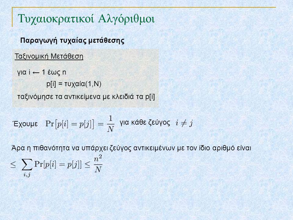 Τυχαιοκρατικοί Αλγόριθμοι Παραγωγή τυχαίας μετάθεσης Ταξινομική Μετάθεση για i ← 1 έως n p[i] = τυχαία(1,N) ταξινόμησε τα αντικείμενα με κλειδιά τα p[i] Έχουμε για κάθε ζεύγος Άρα η πιθανότητα να υπάρχει ζεύγος αντικειμένων με τον ίδιο αριθμό είναι Αν επιλέξουμε τότε η πιθανότητα να έχουν όλα τα αντικείμενα διαφορετικό αριθμό είναι τουλάχιστον