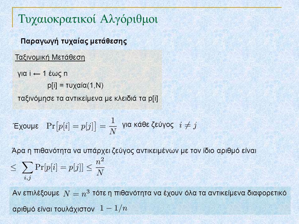 Τυχαιοκρατικοί Αλγόριθμοι Παραγωγή τυχαίας μετάθεσης Ιδιότητα : Η επιτόπια μετάθεση δίνει ομοιόμορφα τυχαία μετάθεση k-μετάθεση : ακολουθία k στοιχείων από ένα σύνολο n στοιχείων Αναλλοίωτη συνθήκη (loop invariant): Ακριβώς πριν την (k+1)-οστη επανάληψη τα πρώτα k αντικείμενα που έχουμε διατάξει σχηματίζουν μία δεδομένη k-μετάθεση με πιθανότητα Επιτόπια Μετάθεση για i ← 1 έως n εναλλαγή του i-oστού αντικειμένου με αυτό της θέσης τυχαία(i,n)