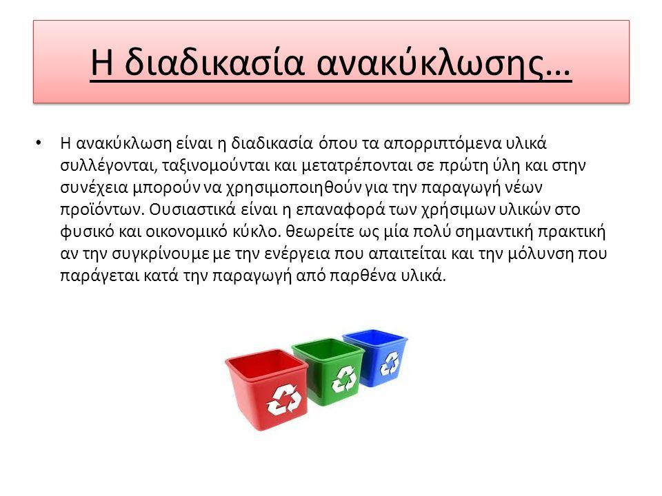Η διαδικασία ανακύκλωσης… Η ανακύκλωση είναι η διαδικασία όπου τα απορριπτόμενα υλικά συλλέγονται, ταξινομούνται και μετατρέπονται σε πρώτη ύλη και στ