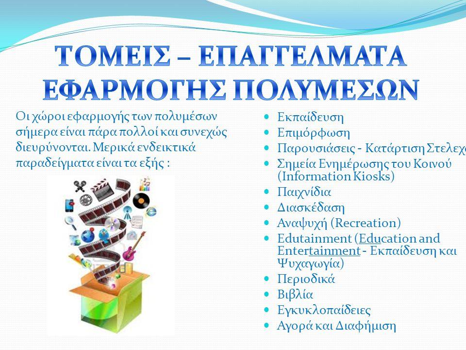 Εκπαίδευση Επιμόρφωση Παρουσιάσεις - Κατάρτιση Στελεχών Σημεία Ενημέρωσης του Κοινού (Information Kiosks) Παιχνίδια Διασκέδαση Αναψυχή (Recreation) Edutainment (Education and Entertainment - Εκπαίδευση και Ψυχαγωγία) Περιοδικά Βιβλία Εγκυκλοπαίδειες Αγορά και Διαφήμιση Οι χώροι εφαρμογής των πολυμέσων σήμερα είναι πάρα πολλοί και συνεχώς διευρύνονται.