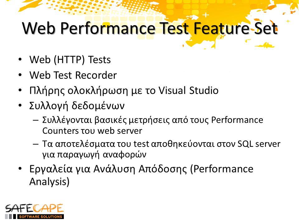 Web Performance Test Feature Set Web (HTTP) Tests Web Test Recorder Πλήρης ολοκλήρωση με το Visual Studio Συλλογή δεδομένων – Συλλέγονται βασικές μετρήσεις από τους Performance Counters του web server – Τα αποτελέσματα του test αποθηκεύονται στον SQL server για παραγωγή αναφορών Εργαλεία για Ανάλυση Απόδοσης (Performance Analysis)