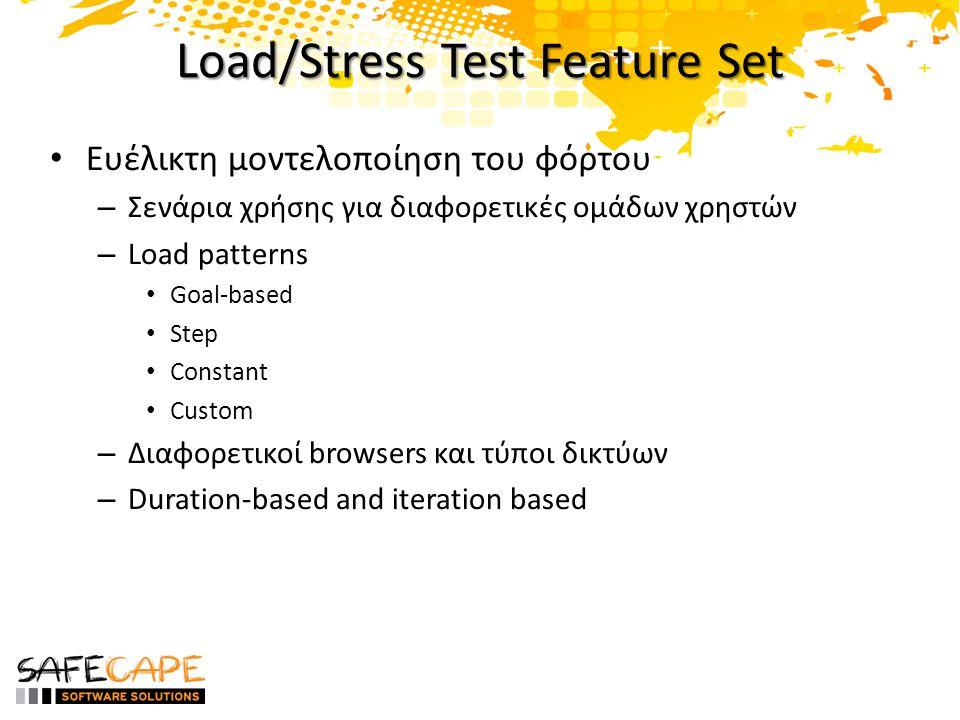 Load/Stress Test Feature Set Ευέλικτη μοντελοποίηση του φόρτου – Σενάρια χρήσης για διαφορετικές ομάδων χρηστών – Load patterns Goal-based Step Constant Custom – Διαφορετικοί browsers και τύποι δικτύων – Duration-based and iteration based