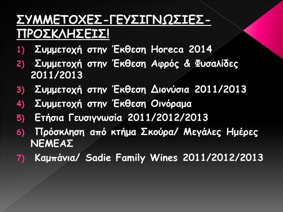 ΣΥΜΜΕΤΟΧΕΣ-ΓΕΥΣΙΓΝΩΣΙΕΣ- ΠΡΟΣΚΛΗΣΕΙΣ! 1) Συμμετοχή στην Έκθεση Horeca 2014 2) Συμμετοχή στην Έκθεση Αφρός & Φυσαλίδες 2011/2013 3) Συμμετοχή στην Έκθε