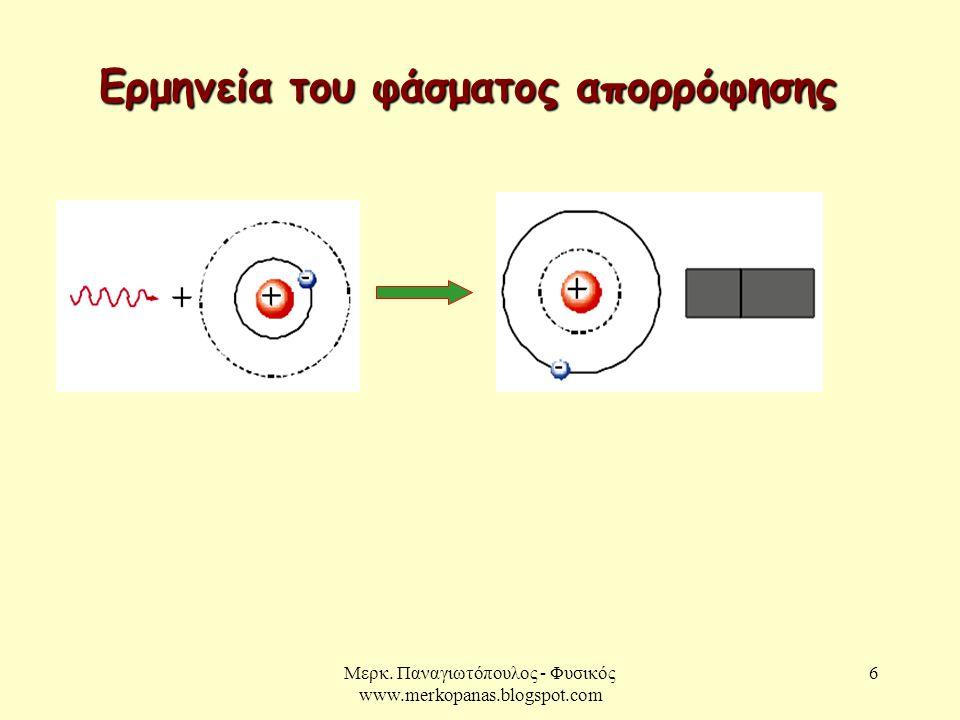 Μερκ. Παναγιωτόπουλος - Φυσικός www.merkopanas.blogspot.com 6 Ερμηνεία του φάσματος απορρόφησης