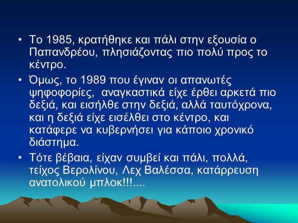 Το 1985, κρατήθηκε και πάλι στην εξουσία ο Παπανδρέου, πλησιάζοντας πιο πολύ προς το κέντρο. Όμως, το 1989 που έγιναν οι απανωτές ψηφοφορίες, αναγκαστ