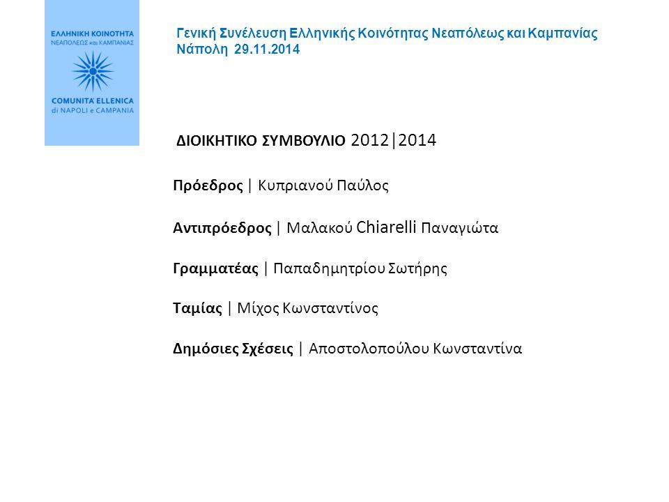 3 ΗΜΕΡΗΣΙΑ ΔΙΑΤΑΞΗ  Παρουσίαση δραστηριοτήτων των τελευταίων δύο ετών  Οικονομική κατάσταση  Προγραμματισμός πρωτοβουλιών για την επόμενη διετία  Εκλογή νέου Διοικητικού Συμβουλίου  Ανακοίνωση των αποτελεσμάτων Γενική Συνέλευση Ελληνικής Κοινότητας Νεαπόλεως και Καμπανίας Νάπολη 29.11.2014