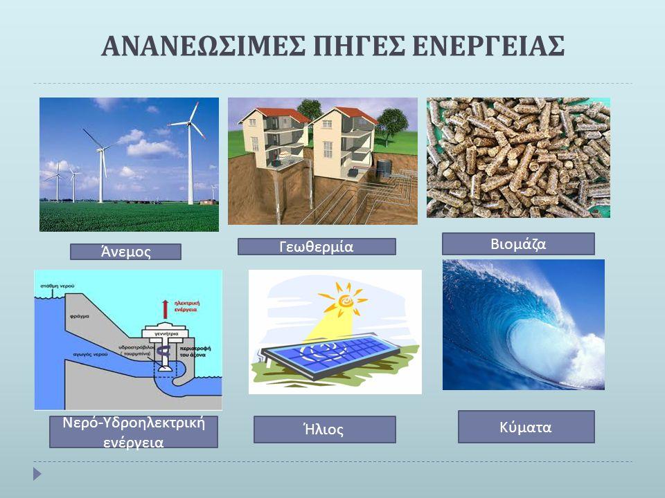 ΑΝΑΝΕΩΣΙΜΕΣ ΠΗΓΕΣ ΕΝΕΡΓΕΙΑΣ Άνεμος Γεωθερμία Βιομάζα Νερό - Υδροηλεκτρική ενέργεια Ήλιος Κύματα