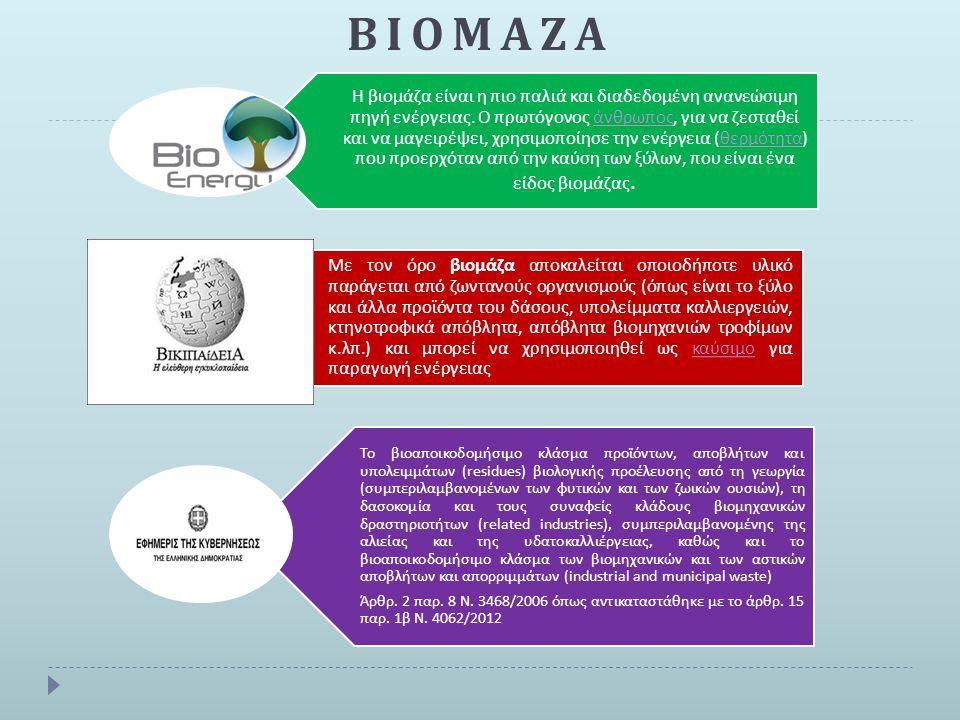 ΒΙΟΜΑΖΑ Η βιομάζα είναι η π ιο π αλιά και διαδεδομένη ανανεώσιμη π ηγή ενέργειας. Ο π ρωτόγονος άνθρω π ος, για να ζεσταθεί και να μαγειρέψει, χρησιμο