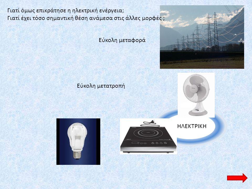 ΗΛΕΚΤΡΙΚΗ Εύκολη μεταφορά Εύκολη μετατροπή Γιατί όμως επικράτησε η ηλεκτρική ενέργεια; Γιατί έχει τόσο σημαντική θέση ανάμεσα στις άλλες μορφές ;